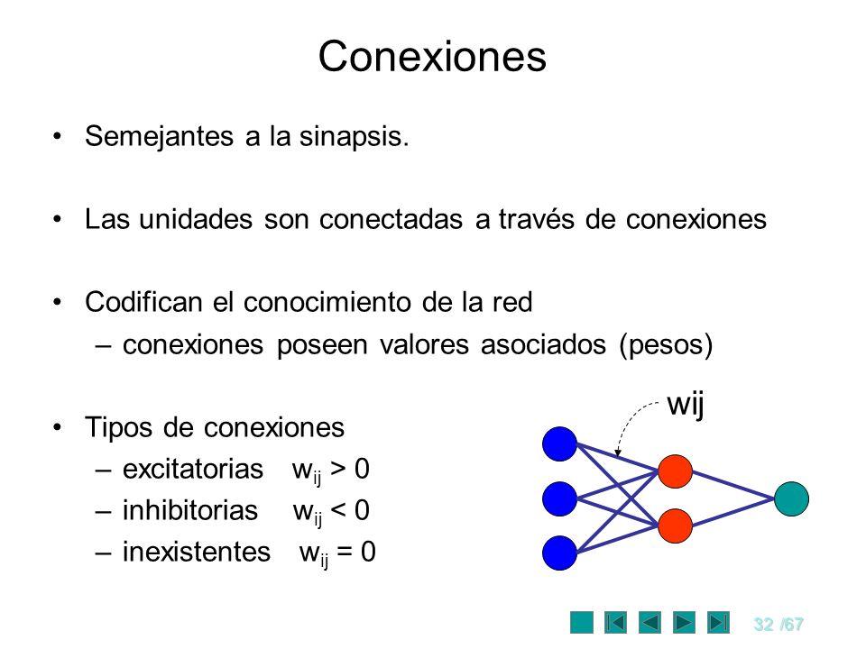 32/67 Conexiones Semejantes a la sinapsis. Las unidades son conectadas a través de conexiones Codifican el conocimiento de la red –conexiones poseen v