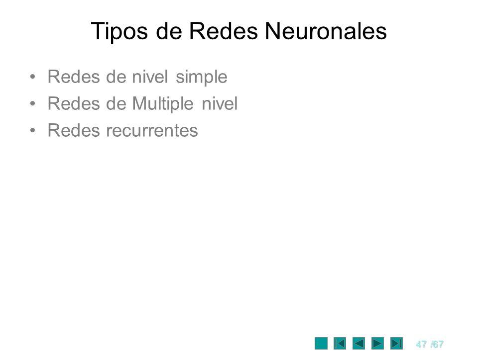 47/67 Redes de nivel simple Redes de Multiple nivel Redes recurrentes Tipos de Redes Neuronales