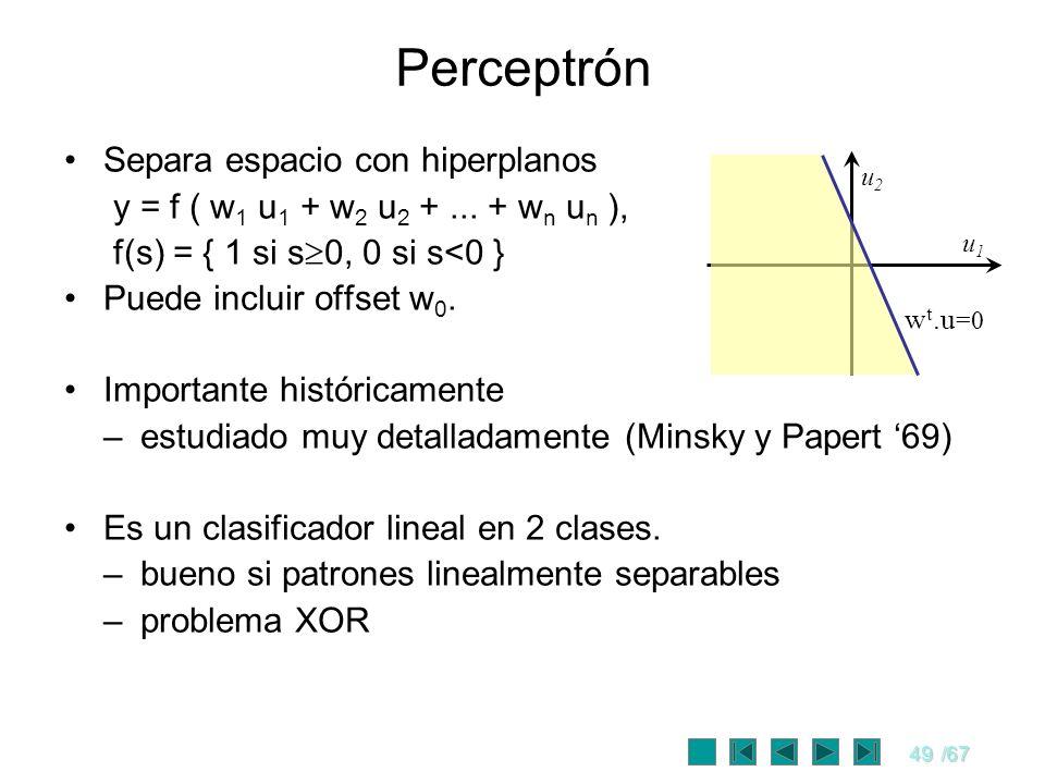 49/67 Perceptrón Separa espacio con hiperplanos y = f ( w 1 u 1 + w 2 u 2 +... + w n u n ), f(s) = { 1 si s 0, 0 si s<0 } Puede incluir offset w 0. Im