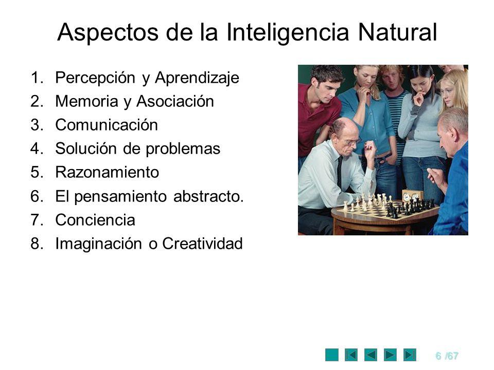 6/67 Aspectos de la Inteligencia Natural 1.Percepción y Aprendizaje 2.Memoria y Asociación 3.Comunicación 4.Solución de problemas 5.Razonamiento 6.El