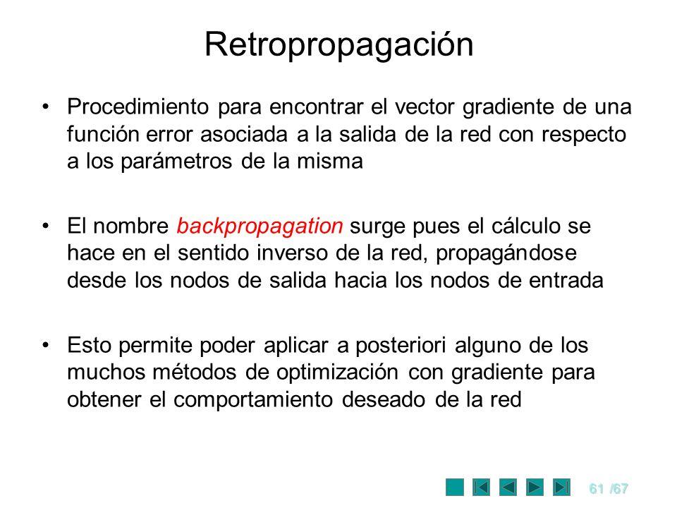 61/67 Retropropagación Procedimiento para encontrar el vector gradiente de una función error asociada a la salida de la red con respecto a los parámet