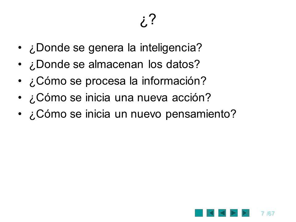 7/67 ¿? ¿Donde se genera la inteligencia? ¿Donde se almacenan los datos? ¿Cómo se procesa la información? ¿Cómo se inicia una nueva acción? ¿Cómo se i