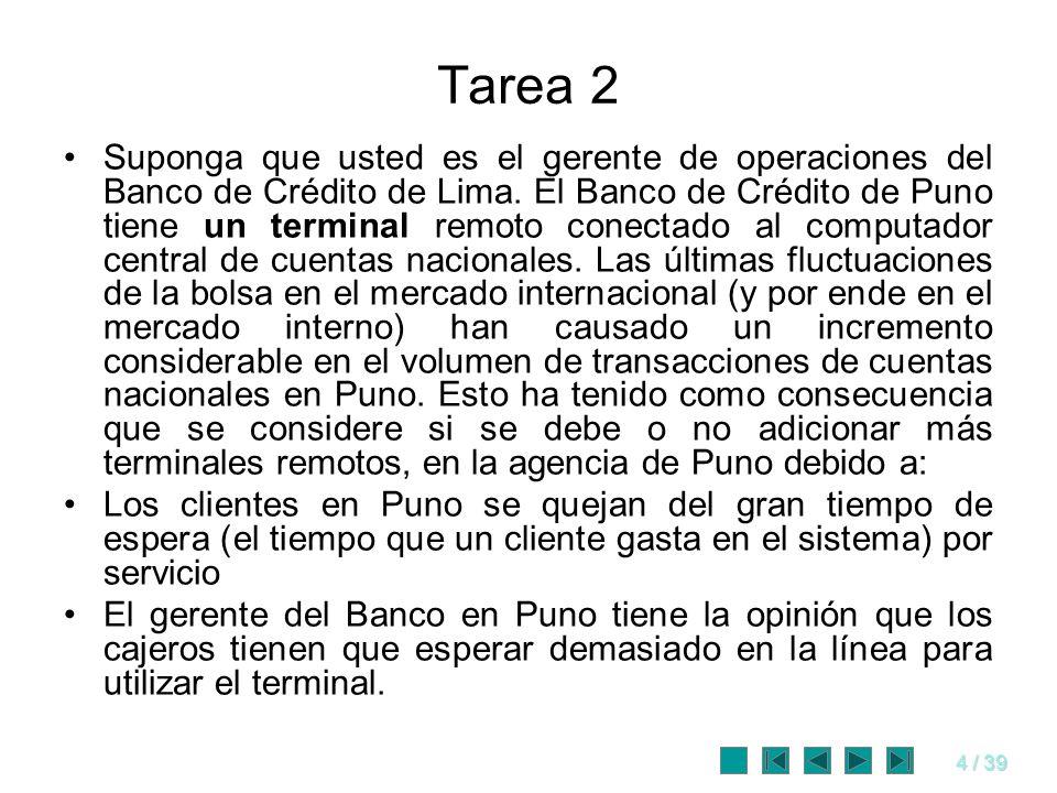 4 / 39 Tarea 2 Suponga que usted es el gerente de operaciones del Banco de Crédito de Lima. El Banco de Crédito de Puno tiene un terminal remoto conec