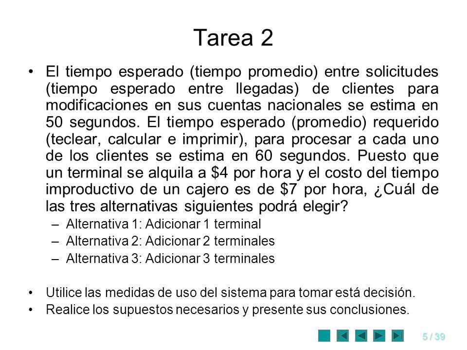 5 / 39 Tarea 2 El tiempo esperado (tiempo promedio) entre solicitudes (tiempo esperado entre llegadas) de clientes para modificaciones en sus cuentas