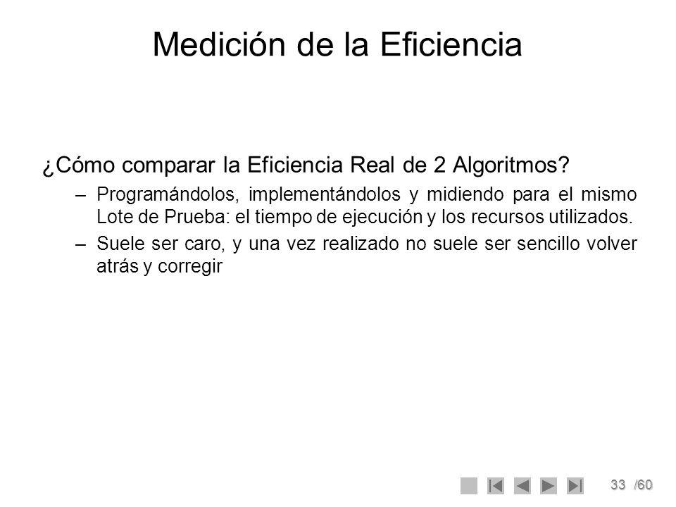 33/60 Medición de la Eficiencia ¿Cómo comparar la Eficiencia Real de 2 Algoritmos? –Programándolos, implementándolos y midiendo para el mismo Lote de