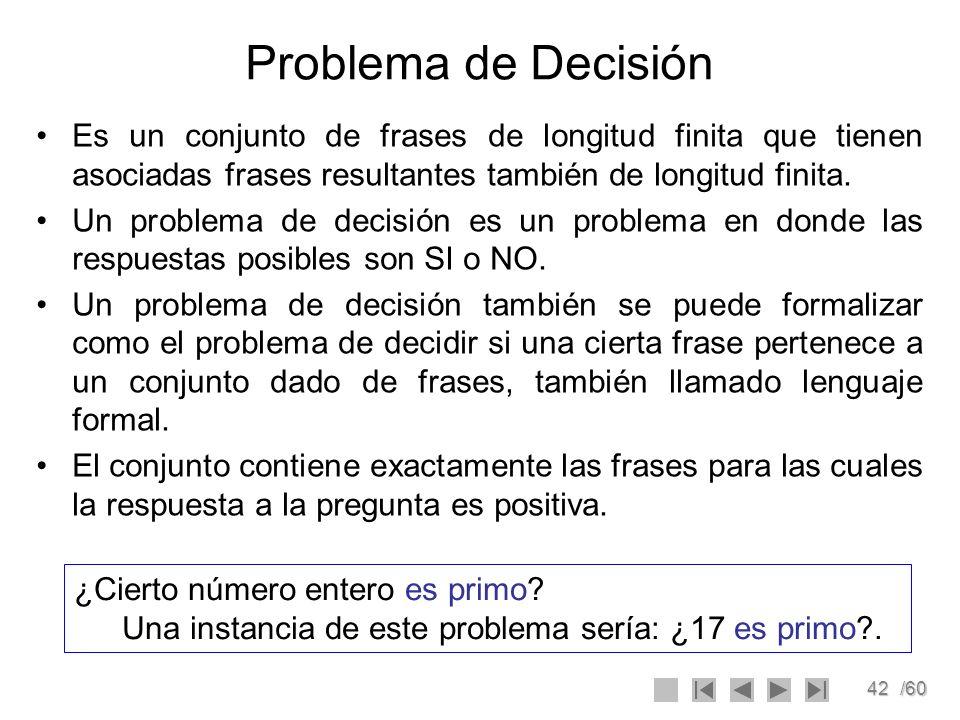 42/60 Problema de Decisión Es un conjunto de frases de longitud finita que tienen asociadas frases resultantes también de longitud finita. Un problema