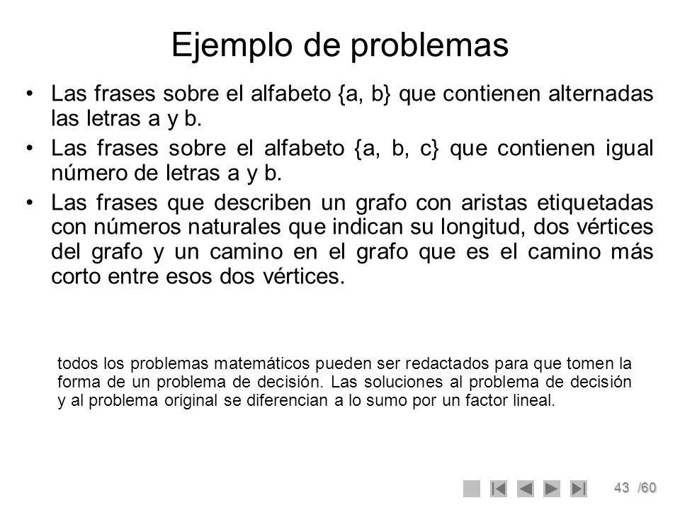 43/60 Ejemplo de problemas Las frases sobre el alfabeto {a, b} que contienen alternadas las letras a y b. Las frases sobre el alfabeto {a, b, c} que c