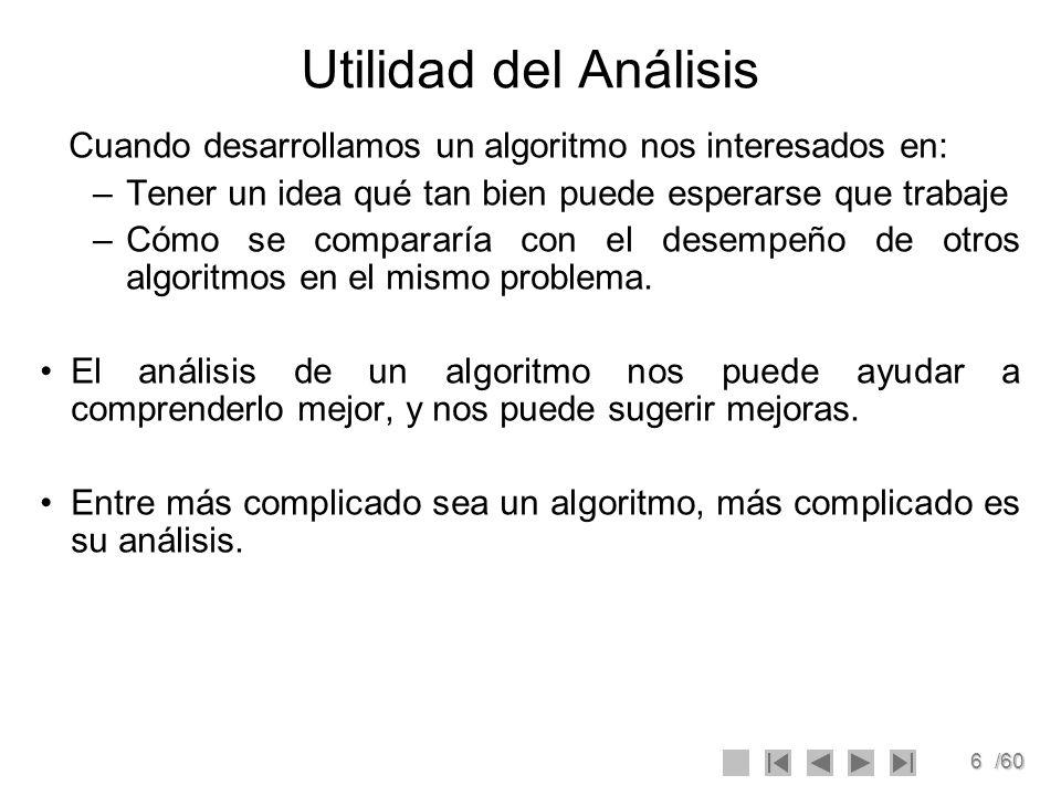 6/60 Utilidad del Análisis Cuando desarrollamos un algoritmo nos interesados en: –Tener un idea qué tan bien puede esperarse que trabaje –Cómo se comp