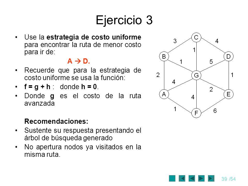 39/54 Ejercicio 3 Use la estrategia de costo uniforme para encontrar la ruta de menor costo para ir de: A D. Recuerde que para la estrategia de costo