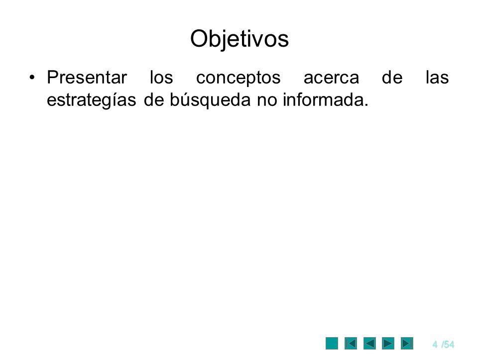 4/54 Objetivos Presentar los conceptos acerca de las estrategías de búsqueda no informada.