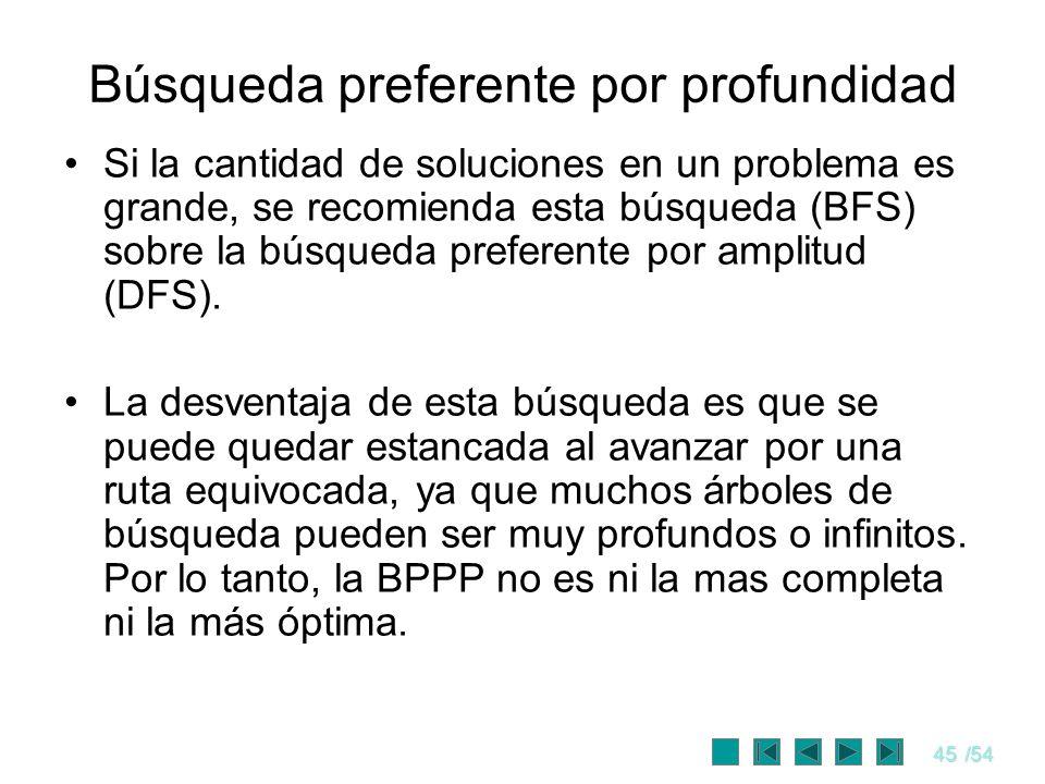 45/54 Búsqueda preferente por profundidad Si la cantidad de soluciones en un problema es grande, se recomienda esta búsqueda (BFS) sobre la búsqueda p