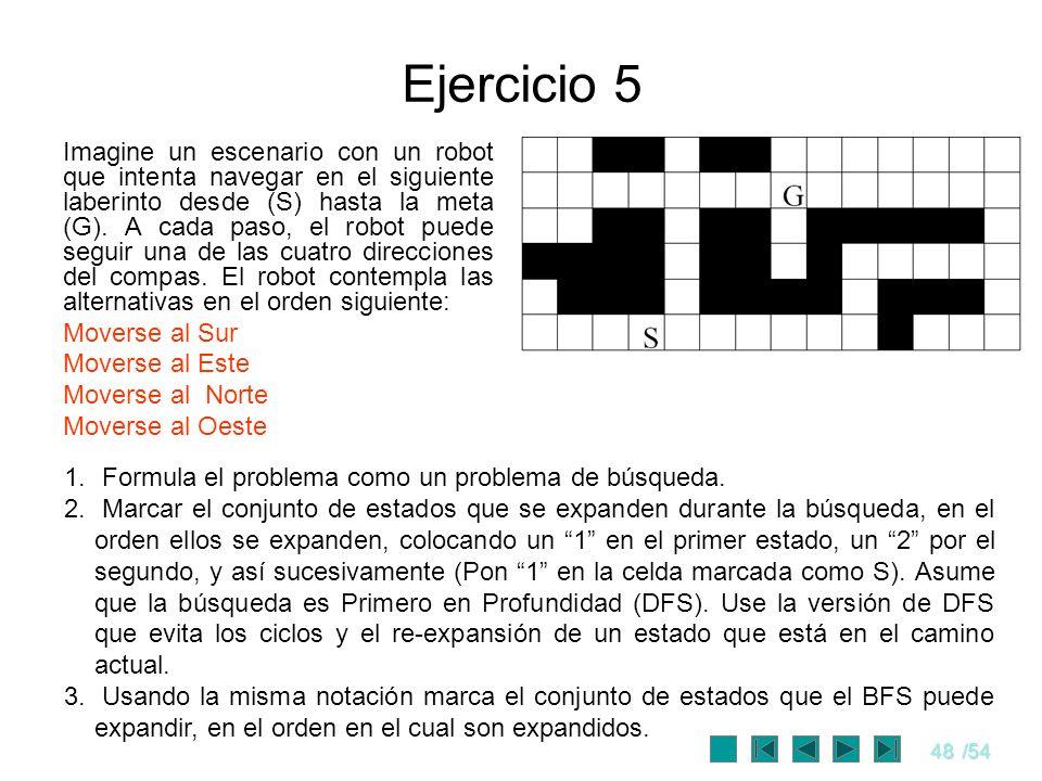48/54 Ejercicio 5 Imagine un escenario con un robot que intenta navegar en el siguiente laberinto desde (S) hasta la meta (G). A cada paso, el robot p