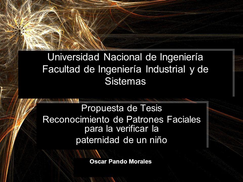 Universidad Nacional de Ingeniería Facultad de Ingeniería Industrial y de Sistemas Propuesta de Tesis Reconocimiento de Patrones Faciales para la veri