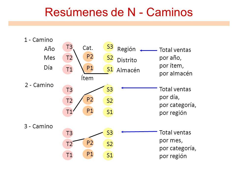 Resúmenes de N - Caminos 1 - Camino 2 - Camino 3 - Camino Total ventas por año, por ítem, por almacén Total ventas por día, por categoría, por región