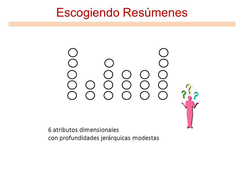 Escogiendo Resúmenes 6 atributos dimensionales con profundidades jerárquicas modestas