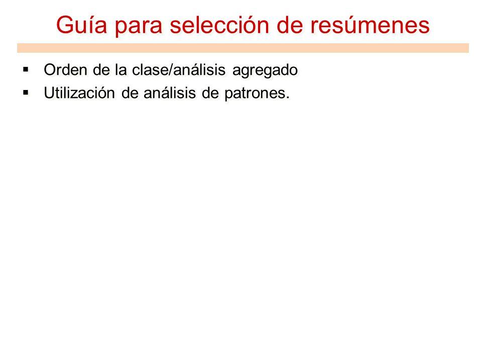 Guía para selección de resúmenes Orden de la clase/análisis agregado Utilización de análisis de patrones. Orden de la clase/análisis agregado Utilizac