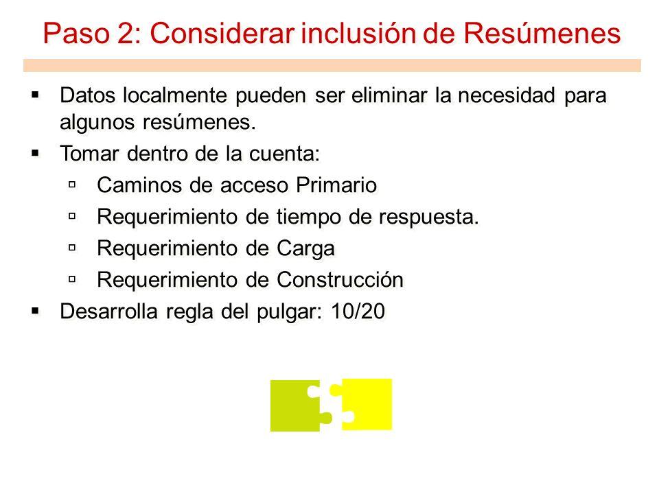 Paso 2: Considerar inclusión de Resúmenes Datos localmente pueden ser eliminar la necesidad para algunos resúmenes. Tomar dentro de la cuenta: Caminos