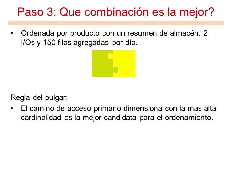 Paso 3: Que combinación es la mejor? Ordenada por producto con un resumen de almacén: 2 I/Os y 150 filas agregadas por día. Regla del pulgar: El camin