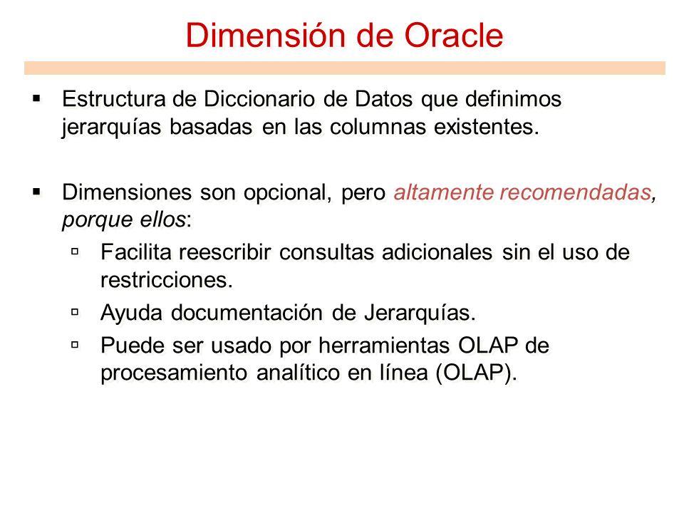 Dimensión de Oracle Estructura de Diccionario de Datos que definimos jerarquías basadas en las columnas existentes. Dimensiones son opcional, pero alt