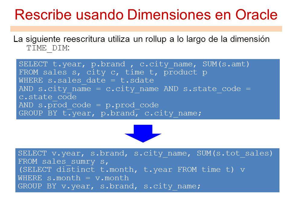Rescribe usando Dimensiones en Oracle La siguiente reescritura utiliza un rollup a lo largo de la dimensión TIME_DIM : SELECT v.year, s.brand, s.city_