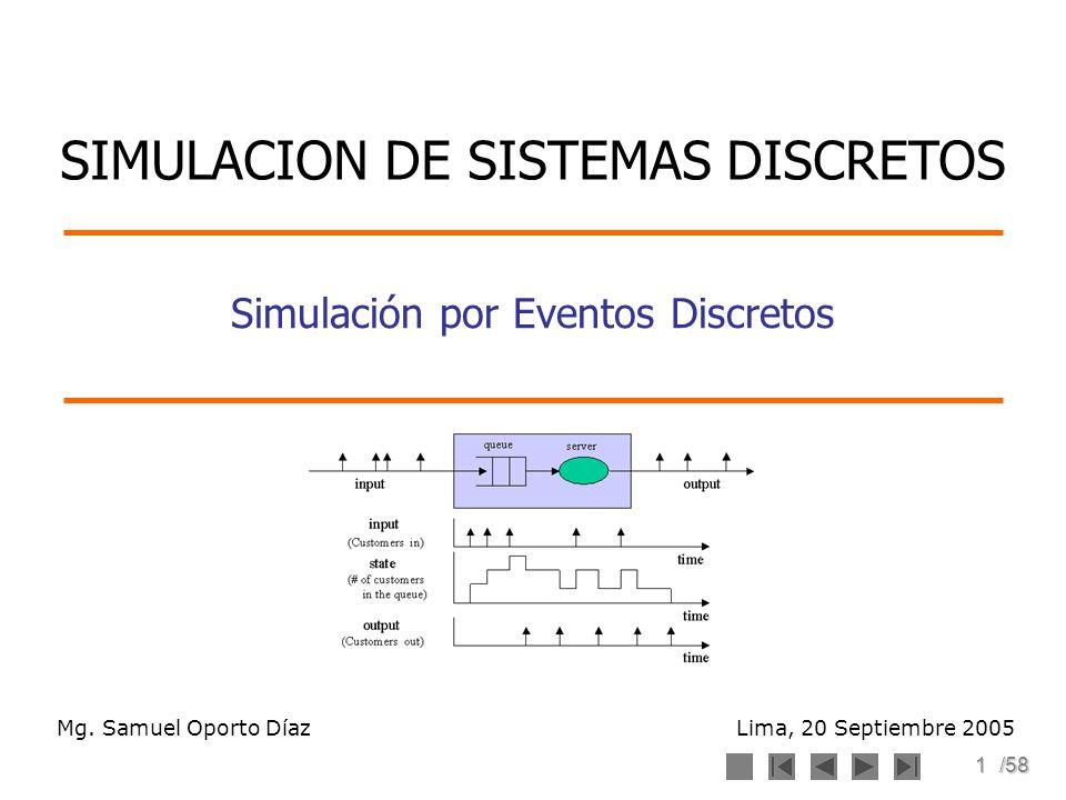 1/58 Simulación por Eventos Discretos Mg. Samuel Oporto Díaz Lima, 20 Septiembre 2005 SIMULACION DE SISTEMAS DISCRETOS