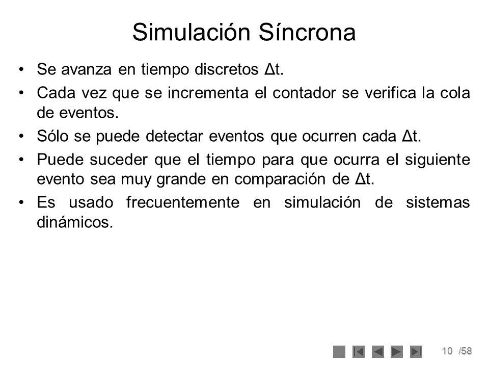 10/58 Simulación Síncrona Se avanza en tiempo discretos Δt. Cada vez que se incrementa el contador se verifica la cola de eventos. Sólo se puede detec