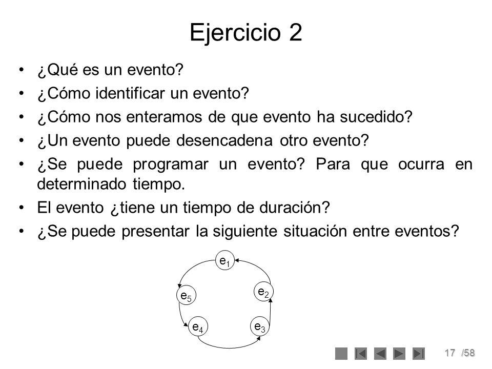 17/58 Ejercicio 2 ¿Qué es un evento? ¿Cómo identificar un evento? ¿Cómo nos enteramos de que evento ha sucedido? ¿Un evento puede desencadena otro eve