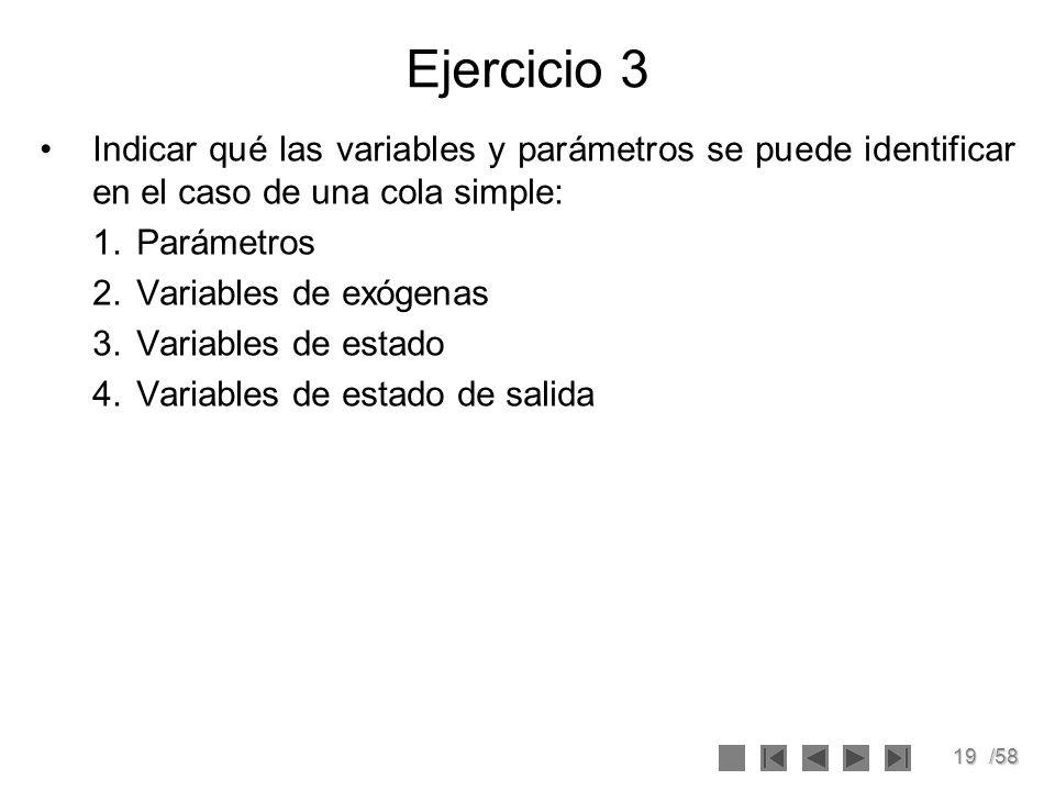 19/58 Ejercicio 3 Indicar qué las variables y parámetros se puede identificar en el caso de una cola simple: 1.Parámetros 2.Variables de exógenas 3.Va