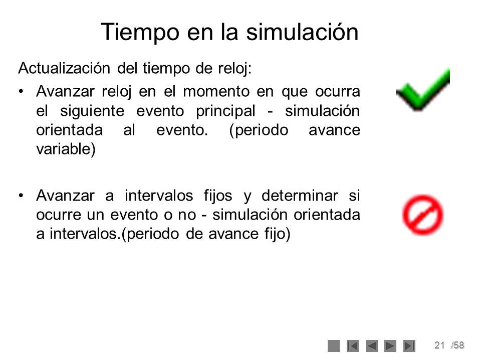 21/58 Tiempo en la simulación Actualización del tiempo de reloj: Avanzar reloj en el momento en que ocurra el siguiente evento principal - simulación
