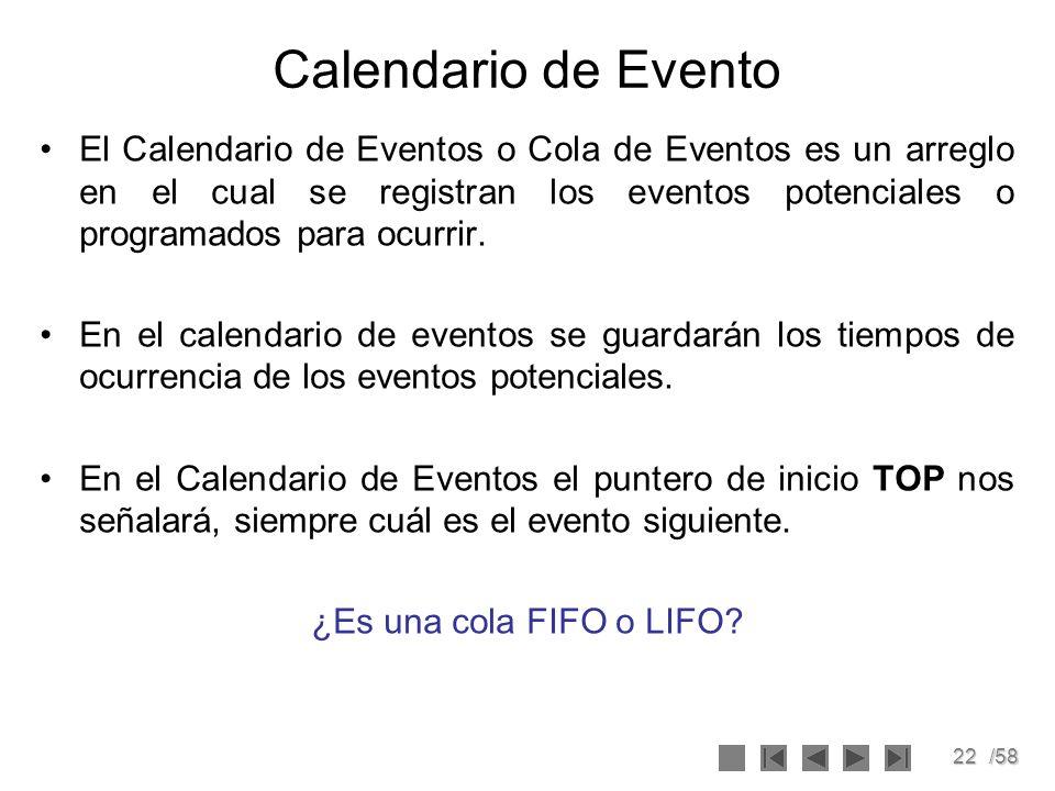22/58 Calendario de Evento El Calendario de Eventos o Cola de Eventos es un arreglo en el cual se registran los eventos potenciales o programados para
