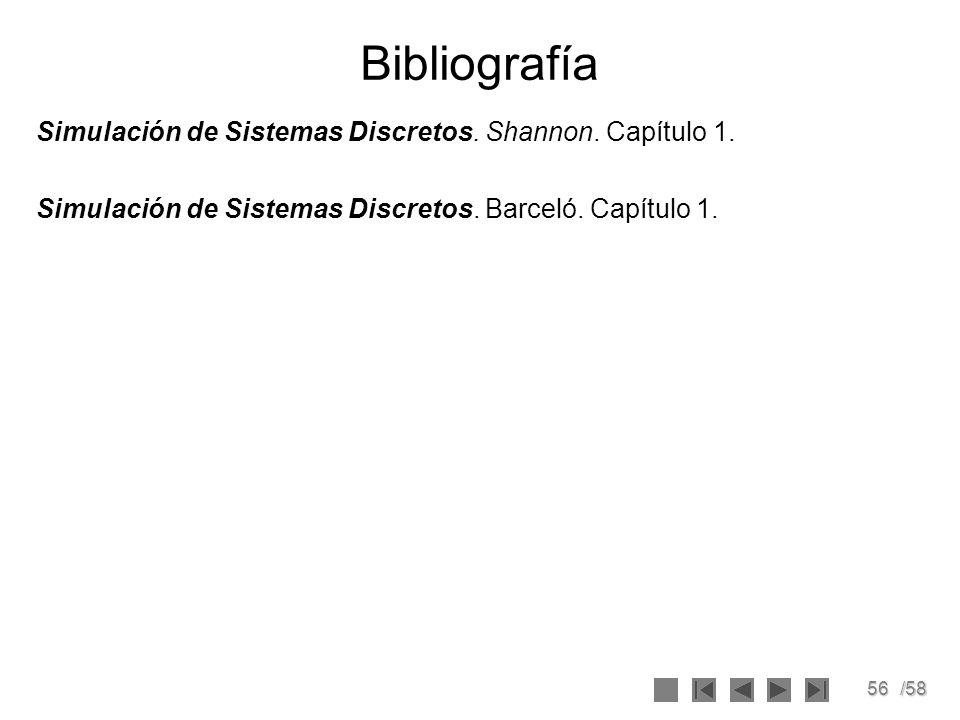 56/58 Bibliografía Simulación de Sistemas Discretos. Shannon. Capítulo 1. Simulación de Sistemas Discretos. Barceló. Capítulo 1.