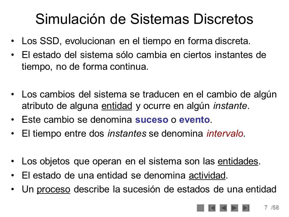 7/58 Simulación de Sistemas Discretos Los SSD, evolucionan en el tiempo en forma discreta. El estado del sistema sólo cambia en ciertos instantes de t