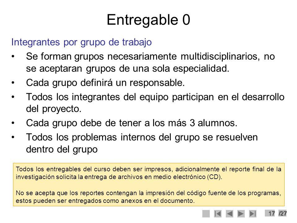 17/27 Entregable 0 Integrantes por grupo de trabajo Se forman grupos necesariamente multidisciplinarios, no se aceptaran grupos de una sola especialid