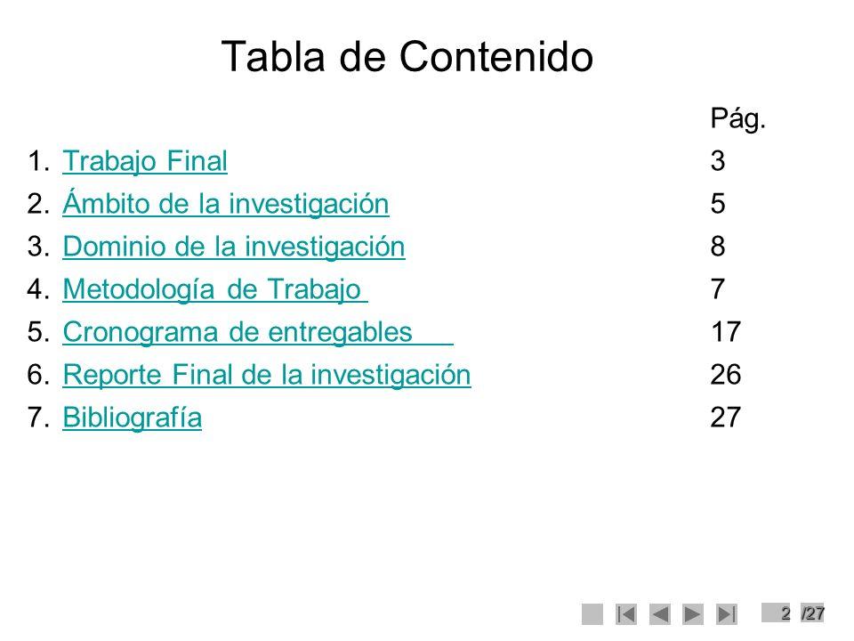 23/27 Entregable 6 Reporte Final (30%) Se prepara el documento: –Reporte final de la investigación.