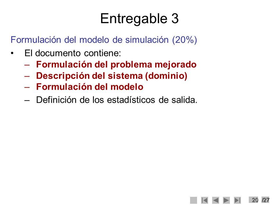 20/27 Entregable 3 Formulación del modelo de simulación (20%) El documento contiene: –Formulación del problema mejorado –Descripción del sistema (domi