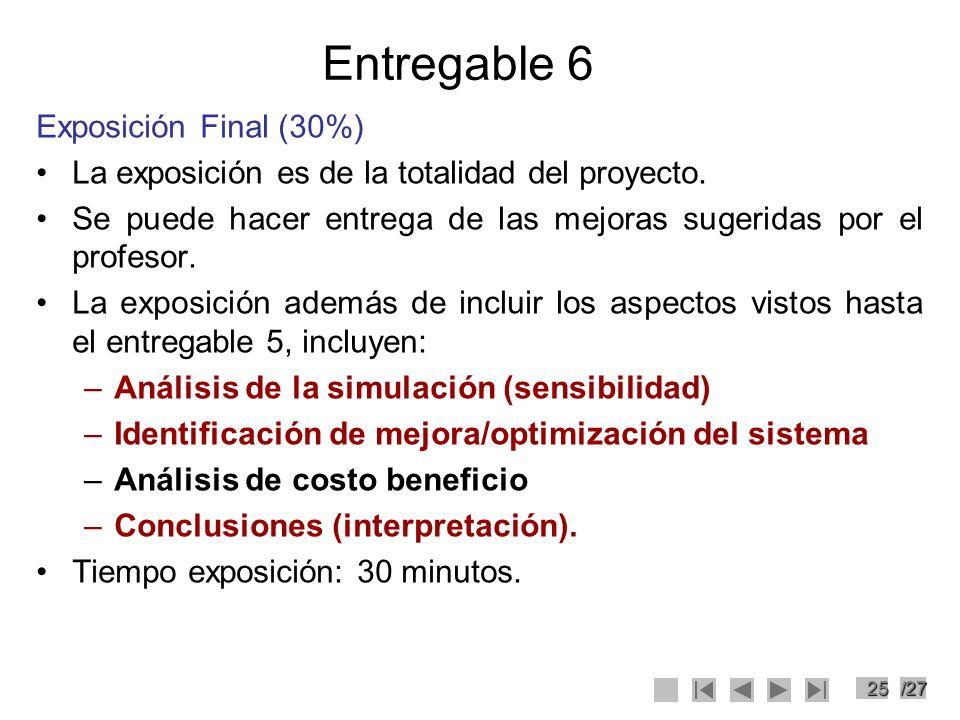 25/27 Entregable 6 Exposición Final (30%) La exposición es de la totalidad del proyecto. Se puede hacer entrega de las mejoras sugeridas por el profes