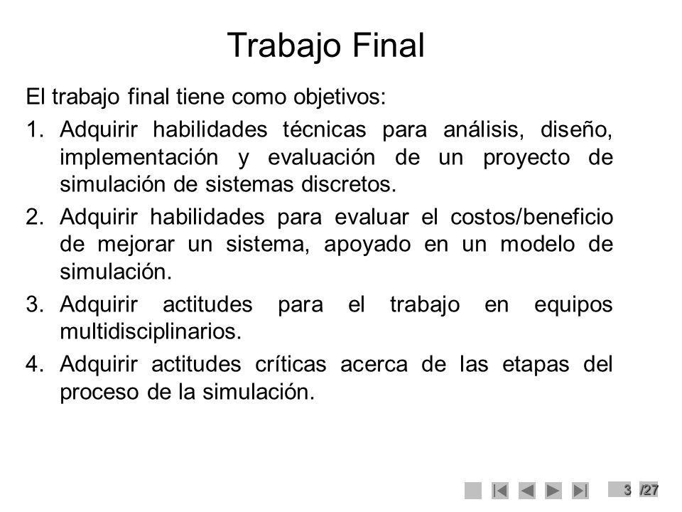 14/27 Metodología de Trabajo 8.Simulación del modelo (validación) Esta etapa es muy importante por que en ella podremos descubrir en que deficiencias se ha incurrido en la formulación del modelo y en los datos con que se ha alimentado al modelo.