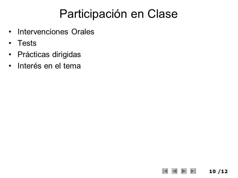 10/12 Participación en Clase Intervenciones Orales Tests Prácticas dirigidas Interés en el tema
