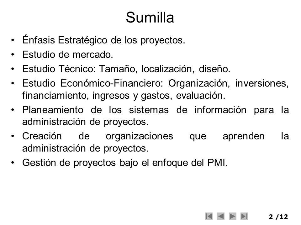 2/12 Sumilla Énfasis Estratégico de los proyectos. Estudio de mercado. Estudio Técnico: Tamaño, localización, diseño. Estudio Económico-Financiero: Or