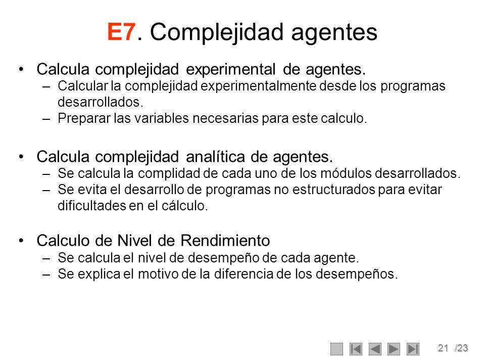 21/23 E7. Complejidad agentes Calcula complejidad experimental de agentes. –Calcular la complejidad experimentalmente desde los programas desarrollado