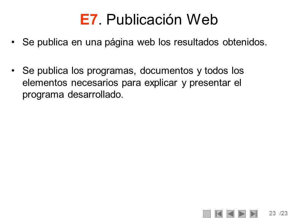 23/23 E7. Publicación Web Se publica en una página web los resultados obtenidos. Se publica los programas, documentos y todos los elementos necesarios