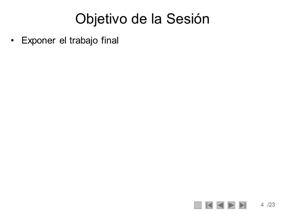 4/23 Objetivo de la Sesión Exponer el trabajo final