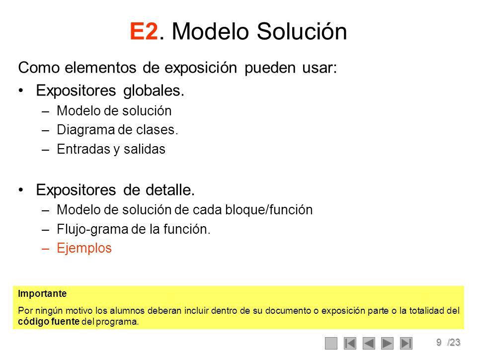 9/23 E2. Modelo Solución Como elementos de exposición pueden usar: Expositores globales. –Modelo de solución –Diagrama de clases. –Entradas y salidas