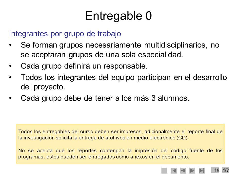 18/27 Entregable 0 Integrantes por grupo de trabajo Se forman grupos necesariamente multidisciplinarios, no se aceptaran grupos de una sola especialid