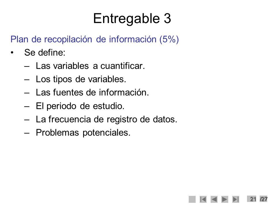 21/27 Entregable 3 Plan de recopilación de información (5%) Se define: –Las variables a cuantificar. –Los tipos de variables. –Las fuentes de informac