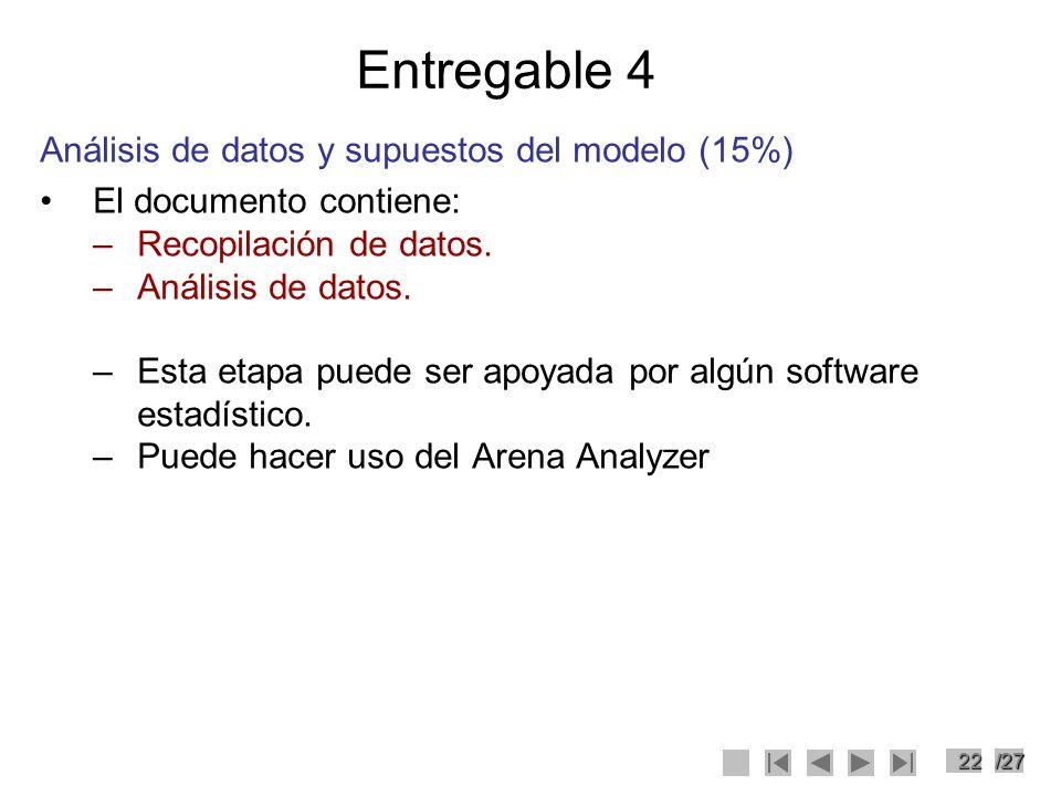 22/27 Entregable 4 Análisis de datos y supuestos del modelo (15%) El documento contiene: –Recopilación de datos. –Análisis de datos. –Esta etapa puede