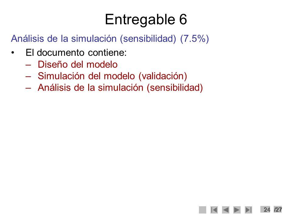24/27 Entregable 6 Análisis de la simulación (sensibilidad) (7.5%) El documento contiene: –Diseño del modelo –Simulación del modelo (validación) –Anál