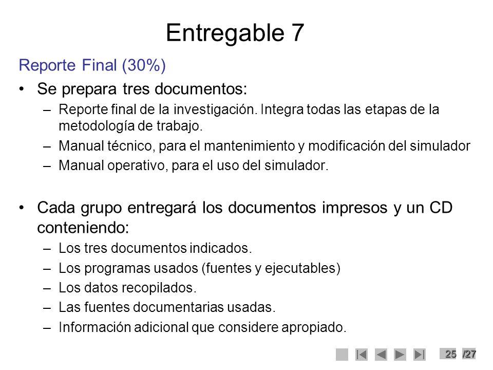 25/27 Entregable 7 Reporte Final (30%) Se prepara tres documentos: –Reporte final de la investigación. Integra todas las etapas de la metodología de t