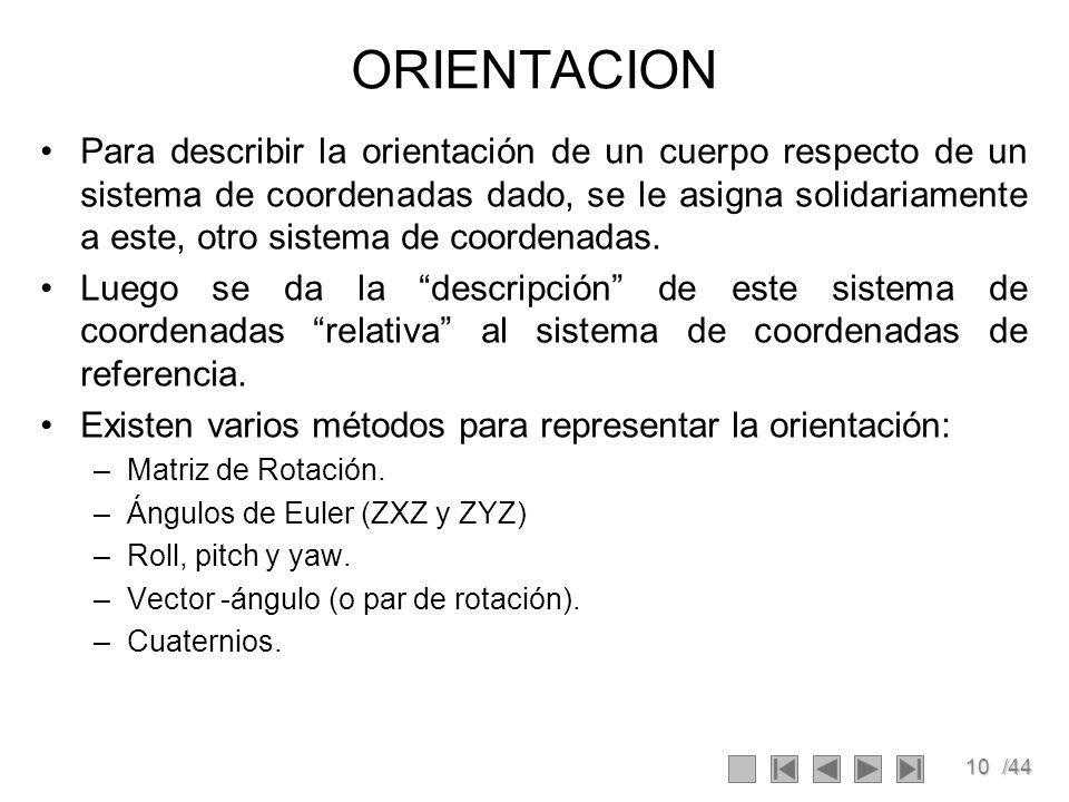 10/44 ORIENTACION Para describir la orientación de un cuerpo respecto de un sistema de coordenadas dado, se le asigna solidariamente a este, otro sist