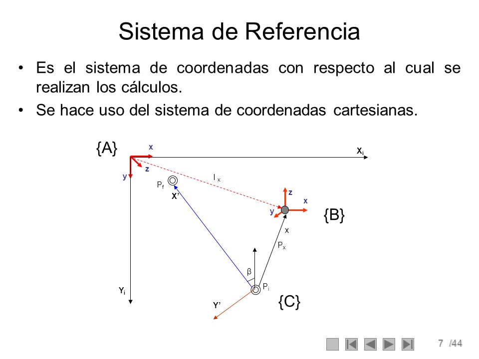 7/44 Sistema de Referencia Es el sistema de coordenadas con respecto al cual se realizan los cálculos. Se hace uso del sistema de coordenadas cartesia